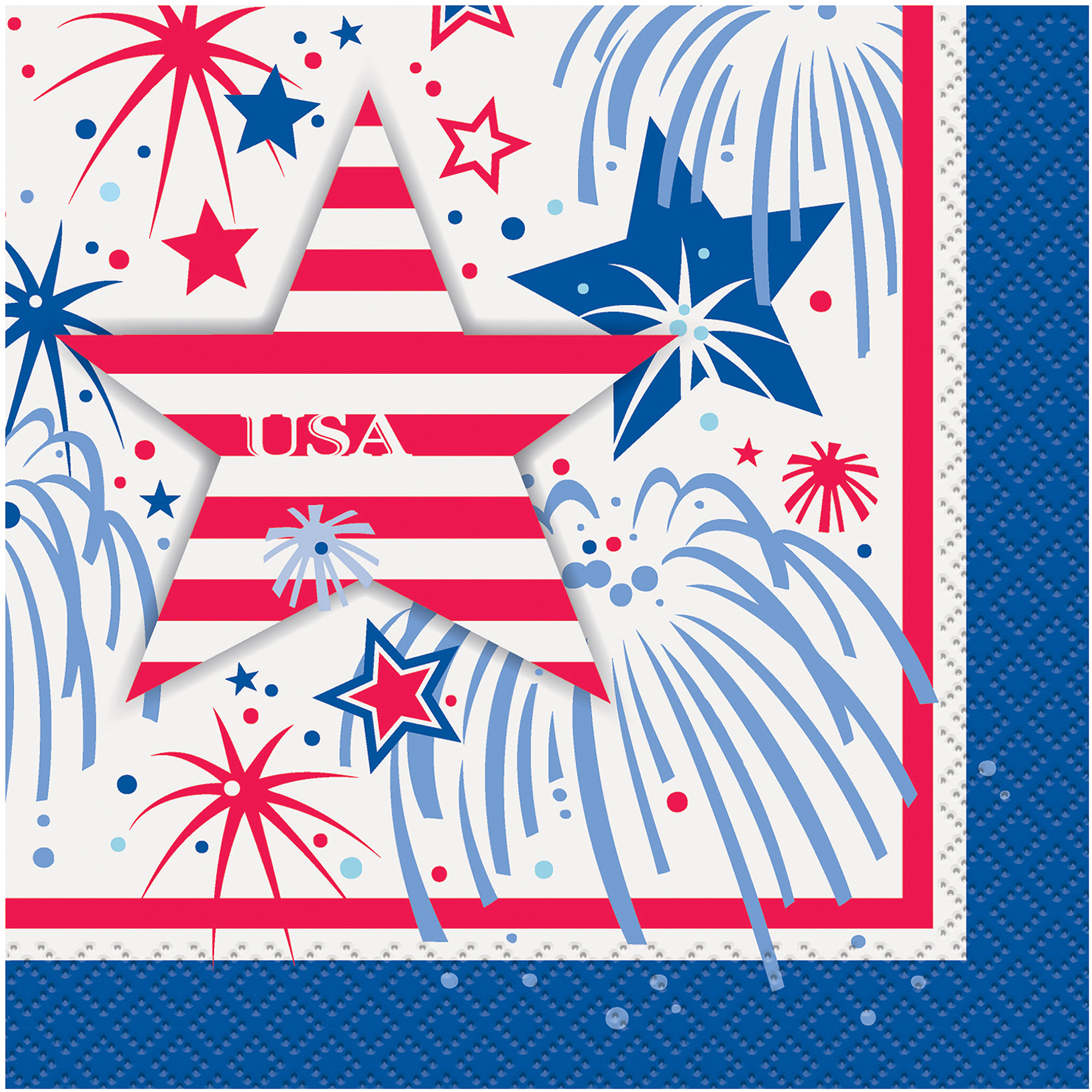 4th of July Fireworks Cocktail Napkins, 5.5 in, Red White and Blue, 16ct