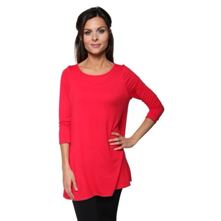 Boatneck Jersey Tunic - Free to Live Women's Long Flowy Elbow Sleeve Jersey Tunic