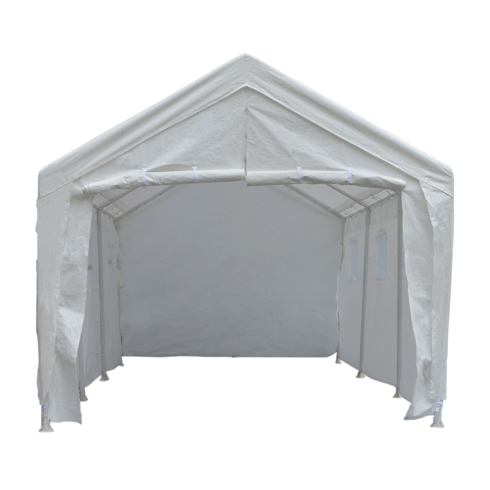 True Shelter Hercules 10 x 20 Foot 8 Leg Universal Carport Shelter, White by TrueShelter
