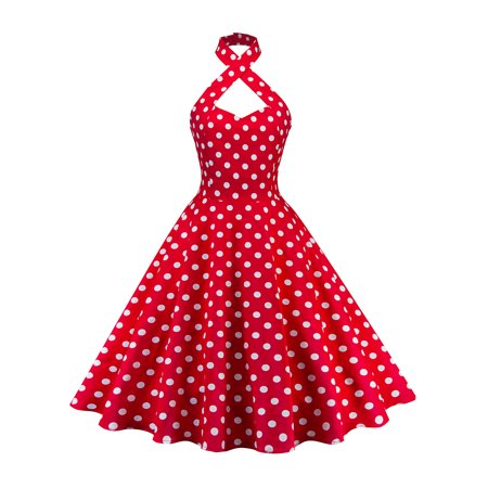 - Women Vintage 50s 60s Halter Print Rockabilly Evening Party Swing Retro Swing Dress