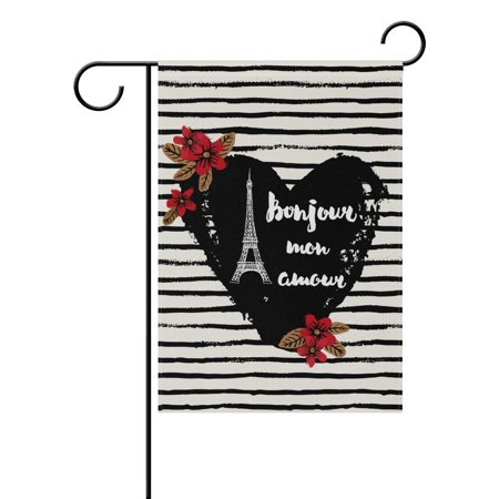 POPCreation Heart Bonjour Eiffel Tower Polyester Garden Flag Outdoor Flag Home Party Garden Decor 28x40 inches ()