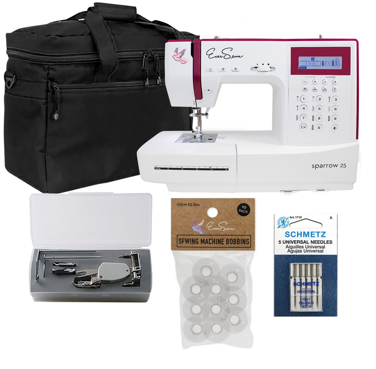 EverSewn Sparrow 25 - 197 Stitch Computerized Sewing Machine With Quilting Bundle