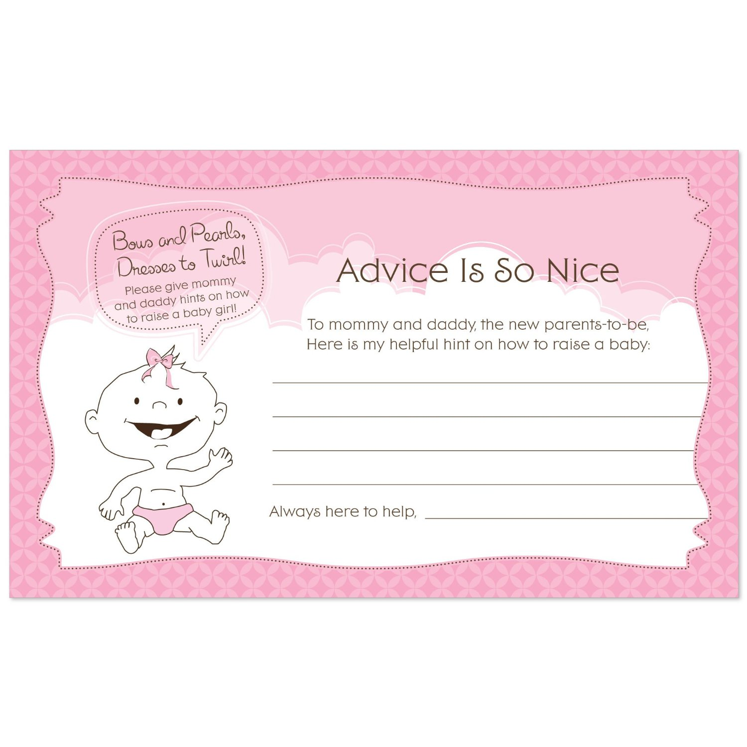 Baby Girl - Baby Shower Advice Cards - 18 Count