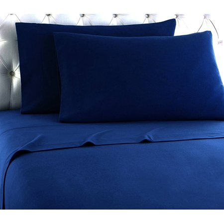 Empire Home Heavy Winter Flannel 100% Cotton Sheet set Fitted Flat Pillow Cases Deep Pocket - Navy - Queen