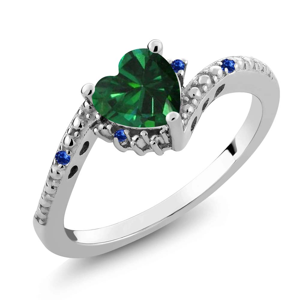 0.72 Ct Heart Shape Green Simulated Emerald Blue Sapphire 925 Silver Ring