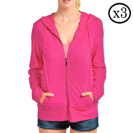 Qraftsy 3 Pack Womens Cotton Zip-Up Hoodie Jacket - Bulk - Jacket Wholesale