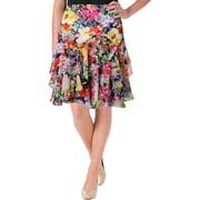 Lauren Ralph Lauren Womens Petites Chiffon Floral Print Flare Skirt