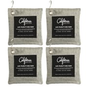 4 Pack with Hooks - 200g Activated Bamboo Deodorizer Natural, Air Purifying Bags