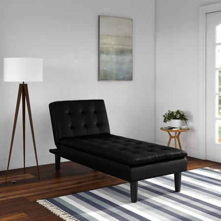 Mainstays Memory Foam Pillow Top Chaise Lounger, Black Faux Leather Dark Brown Chaise