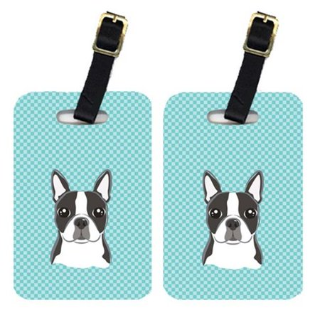 Carolines Treasures BB1141BT Pair Of Checkerboard Blue Boston Terrier Luggage Tags - image 1 of 1