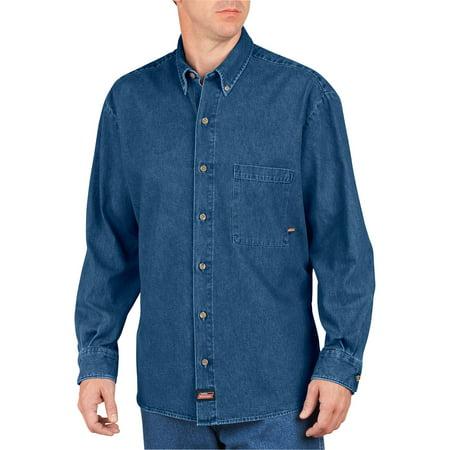 Genuine dickies long sleeve button down denim shirt for Denim button down shirts
