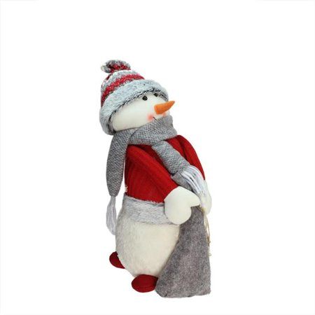 """15.75"""" Red and Gray Snowman with Bag of Gifts Christmas Tabletop Decoration"""