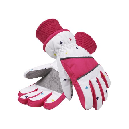 White Mens Water Ski (Girl's Waterproof 3M Thinsulate Winter Ski & Snowboard Gloves,L,White )
