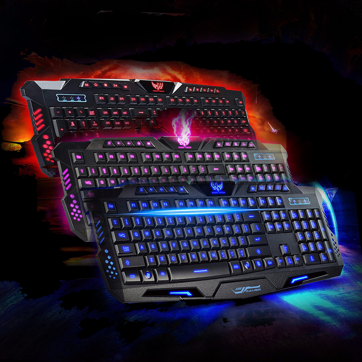 USB backlitkeyboard Wired 3 Colors Crack Illuminated LED Backlight Multimedia PC Gaming Keyboard