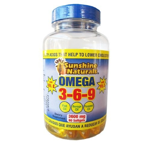 Sunshine Naturals Omega 3-6-9 Fish Oil, Borage Oil, Flaxseed Oil. 3600mg, 60 Sfgels