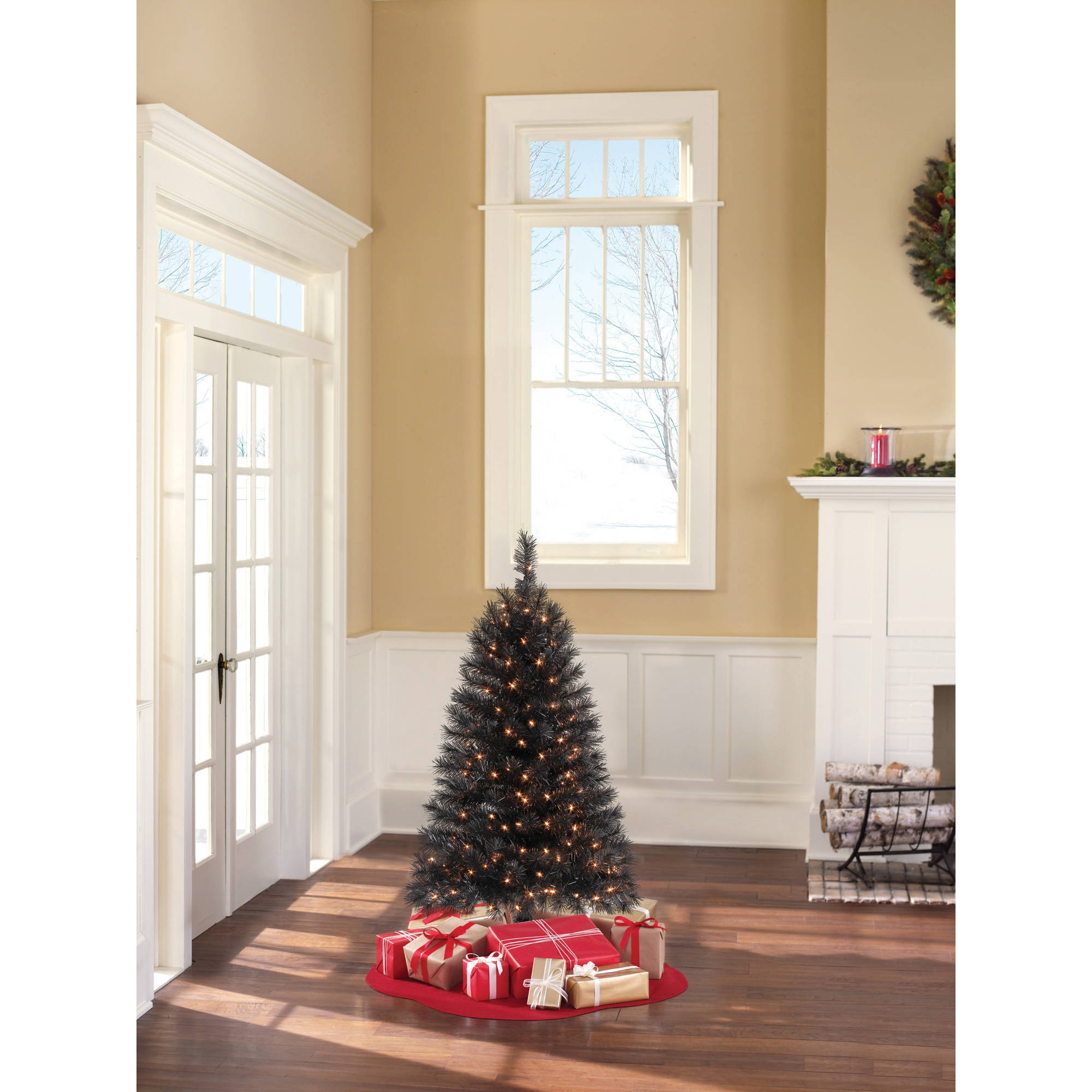 Holiday Time Pre-Lit 4' Indiana Spruce Black Artificial Christmas Tree, Clear Lights