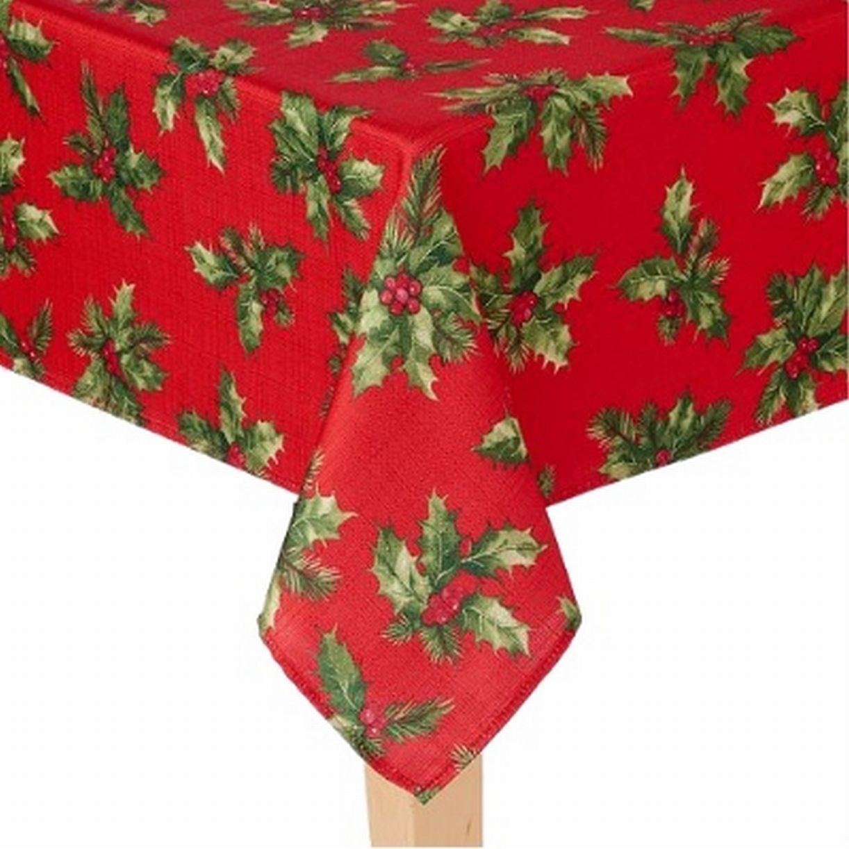 St Nicholas Square Woven Red Holly Print Tablecloth Fabric Table Cloth 90 Round