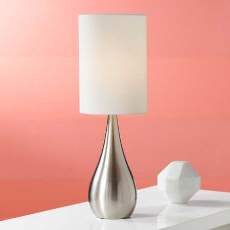 360 Lighting Modern Accent Table Lamp Brushed Steel Metal Teardrop White Cylinder Shade for Living Room Family Bedroom Office Wisconsin Metal Table Lamp