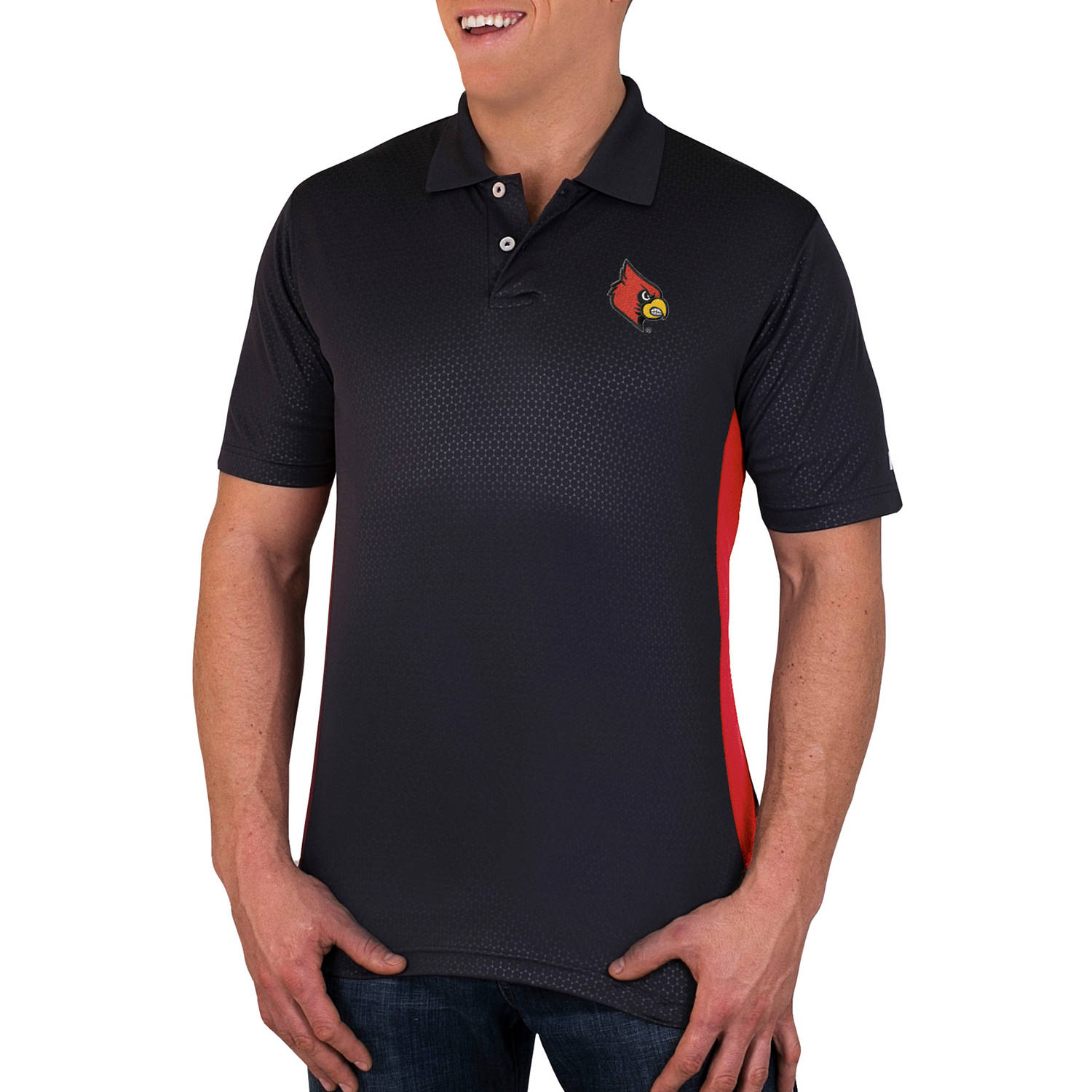 NCAA Louisville Cardinals Men's Synthetic Embossed-Pattern Polo