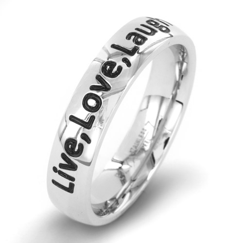 "ELYA Inspirational Stainless Steel ""Live, Love, Laugh"" Ring"