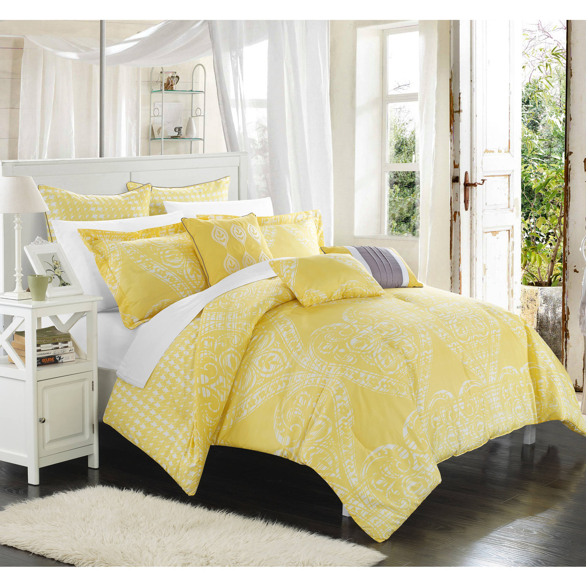 home pin queen set quatrefoil crest oversized comforter bedding medallion sets kendrick grey pc