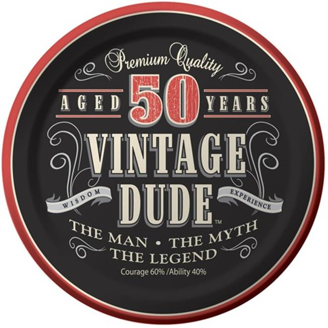 Hoffmaster Group 411567 7 in. 50th Vintage Dude Paper Cake & Dessert Plates - 8 per Case - Case of 12