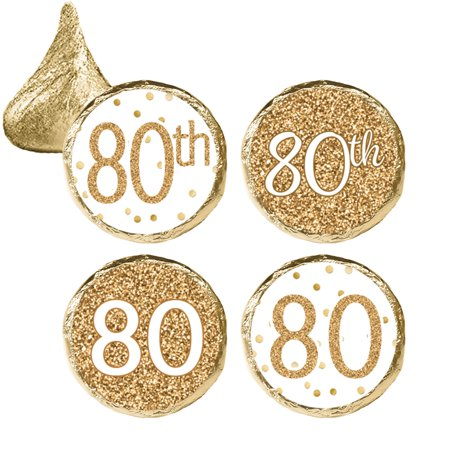 80th Birthday Party Favor Stickers, 324ct - Adult Birthday Party Supplies White and Gold 80th Birthday Candy Decorations Favors - 324 Count Stickers - 80th Birthday Party Favors