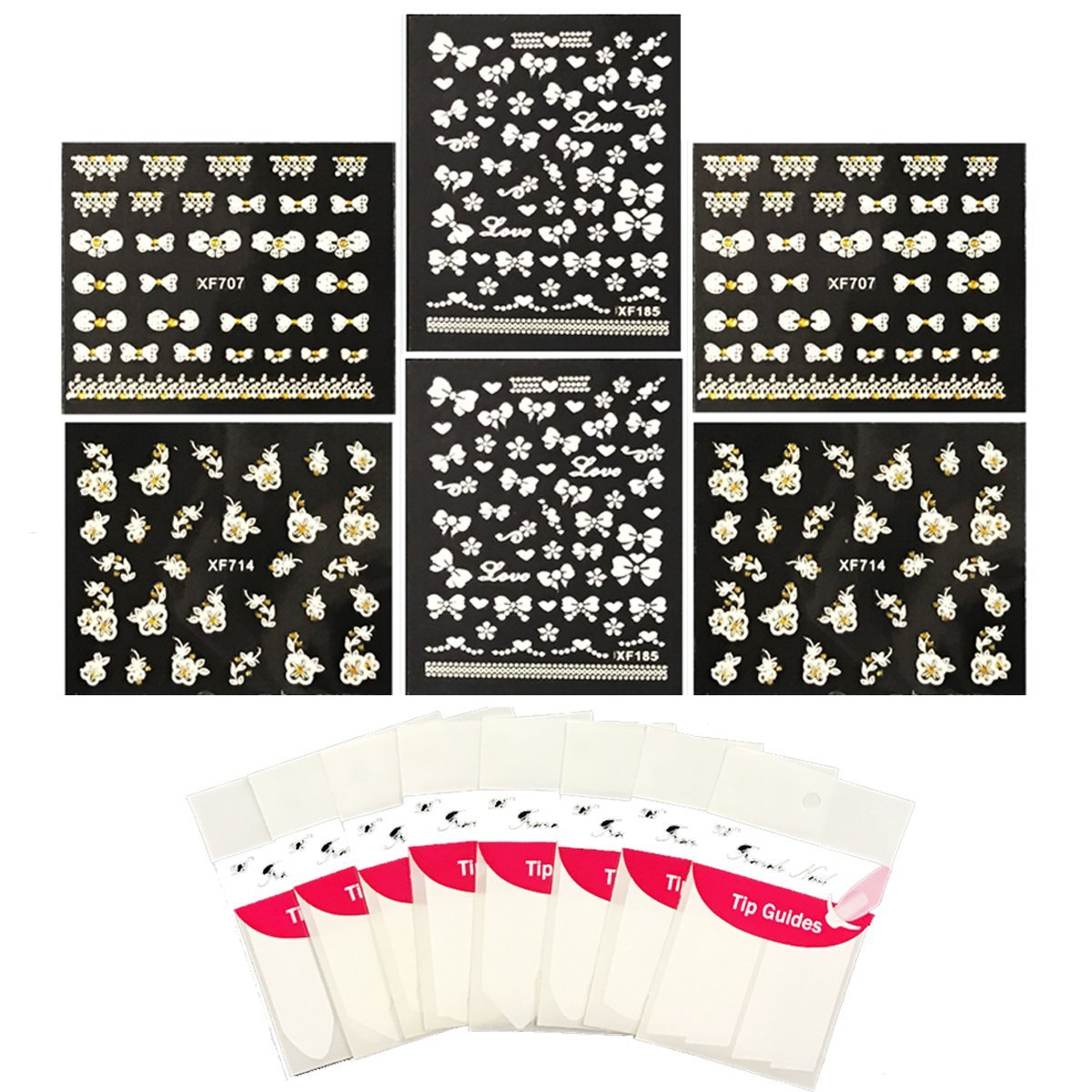 Wrapables® Nail Art Kit - Flowers & Bows Nail Art Stickers Nail Decals & Nail Art Stencils Nail Guides