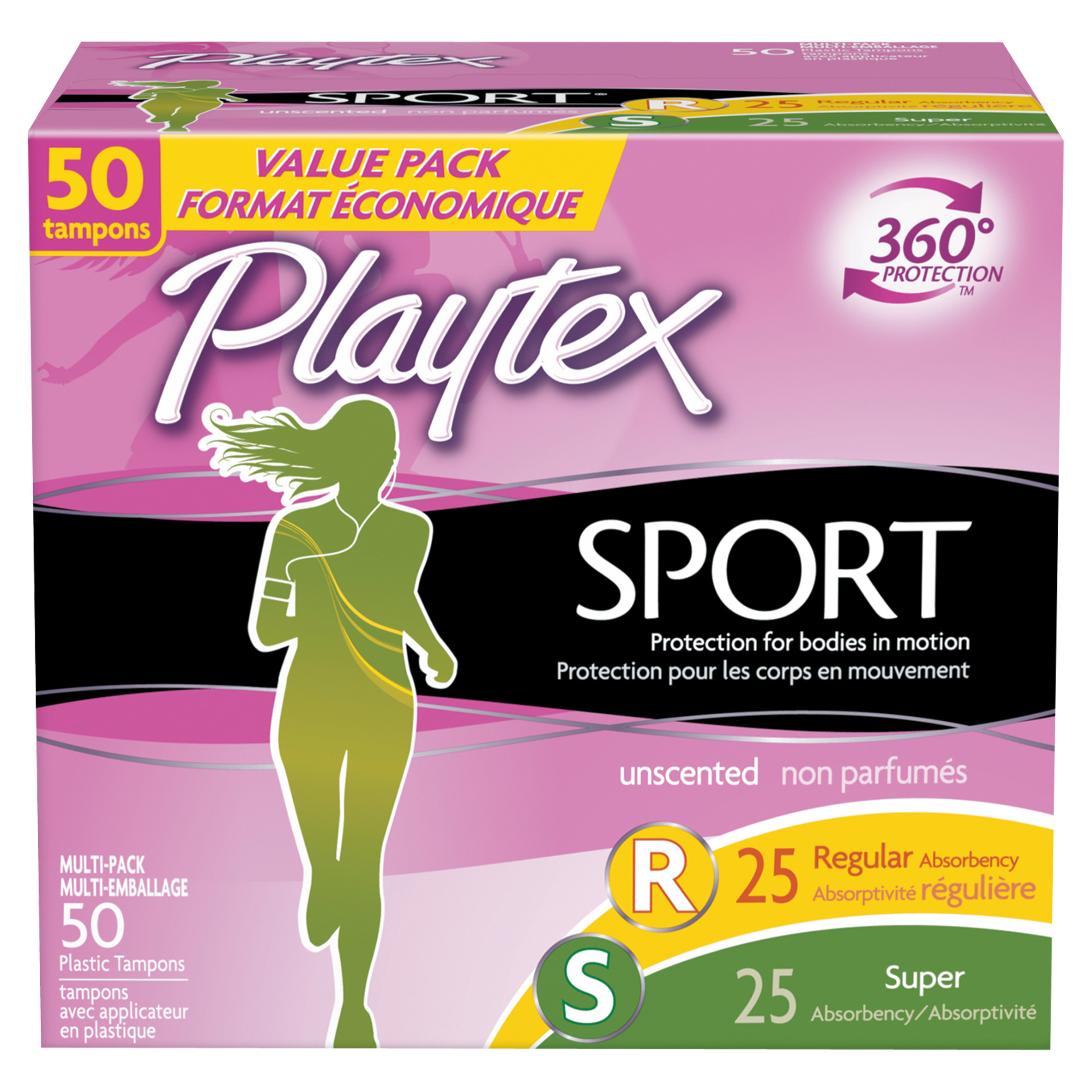 Playtex Sport Tampons Unscented Multi-Pack 25 Regular Absorbency And 25 Super Absorbency - 50 Count