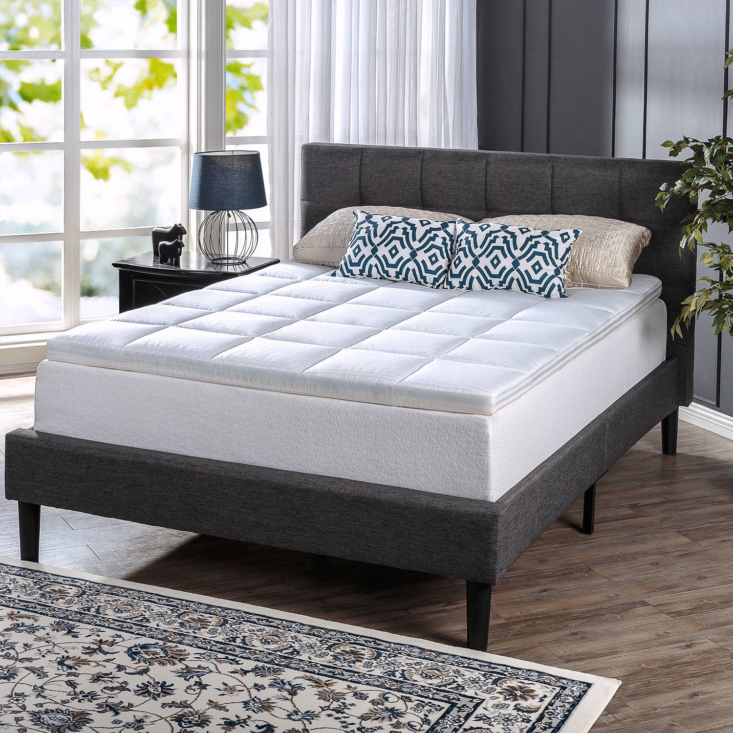 "Spa Sensations Comfort Bliss Memory Foam and Fiber Quilted 3"" Mattress Topper"