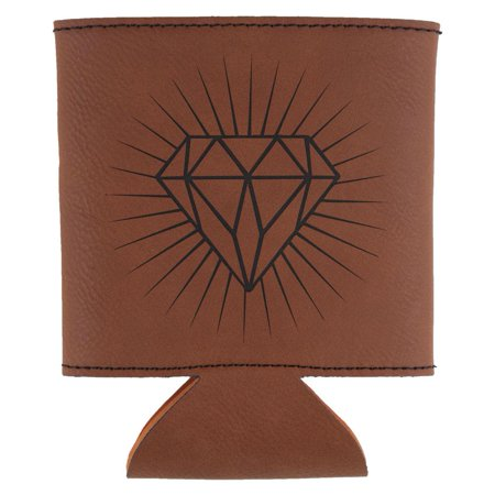 Diamond Etched Leatherette Can Cooler