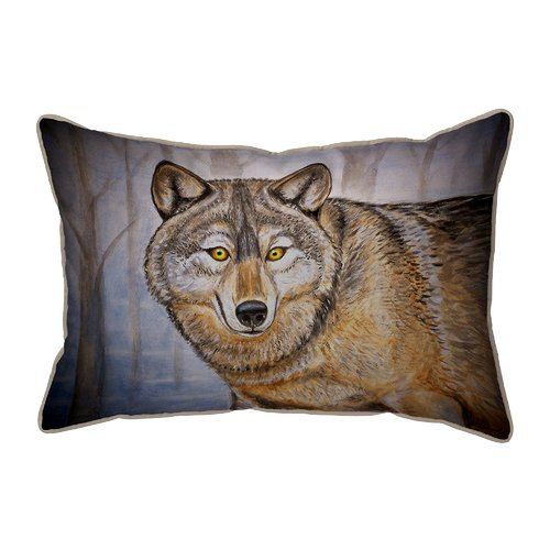 Betsy Drake Interiors Lodge Wolf Indoor/Outdoor Lumbar Pillow