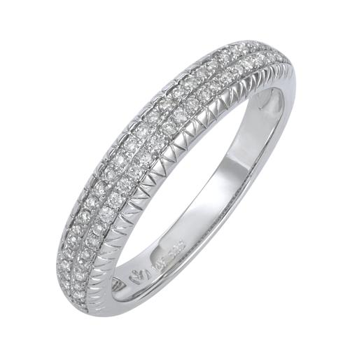 14K White Gold 0.21ct Two Row Channel Set White Round Diamond Women's Band
