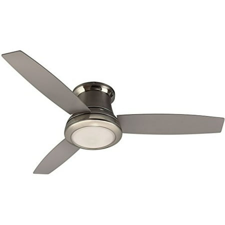 harbor breeze sail stream 52-in brushed nickel flush mount indoor ceiling fan with light kit and remote