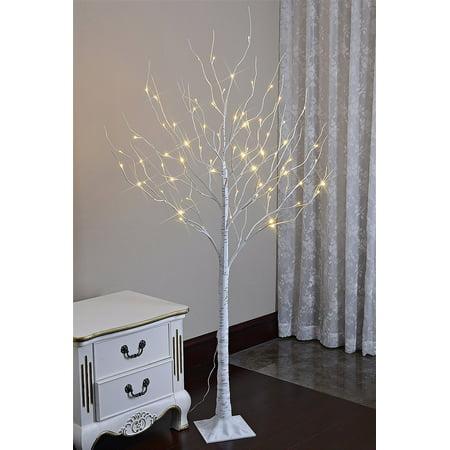 Lightshare 6 Feet Pre-Lit LED Birch Tree, 72 LED Lights, Warm White ()