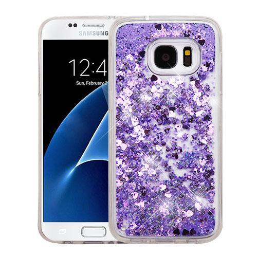 For Samsung Galaxy S7 Case G930 Hybrid Quicksand Liquid Glitter TPU Phone Cover (Hearts & Purple Quicksand Glitter)