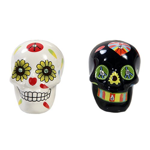Traditional Bright Black White Floral Sugar Skulls Day Of The Dead Salt Pepper Shakers Set
