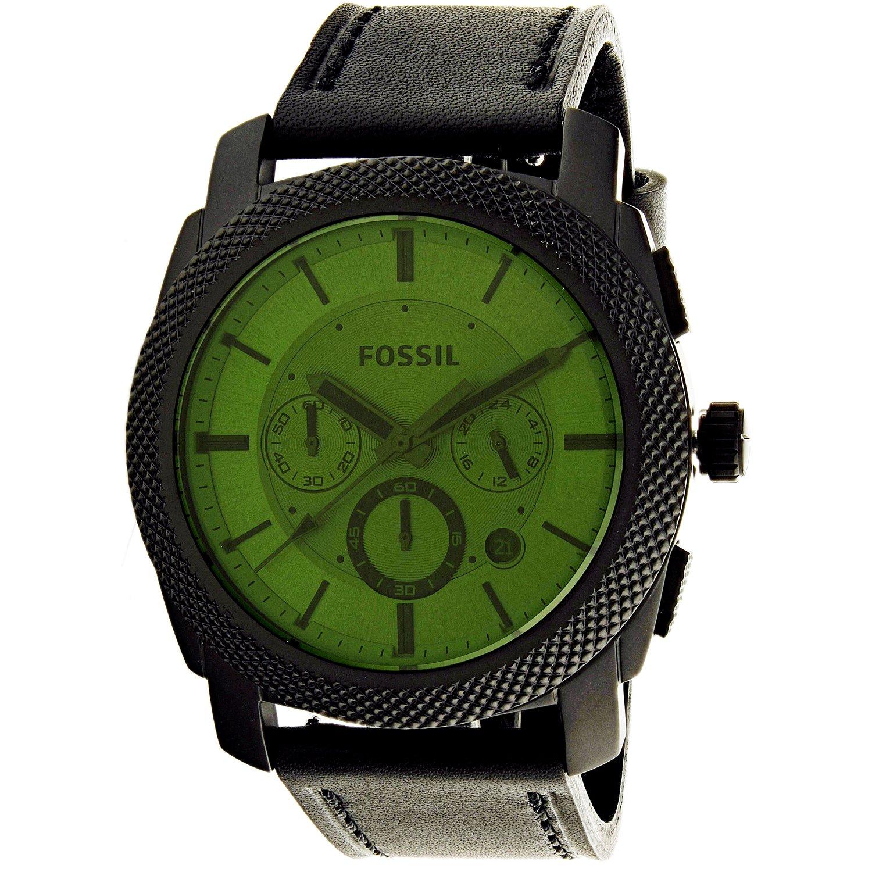 Fossil Men's Machine FS5190 Black Leather Quartz Dress Watch