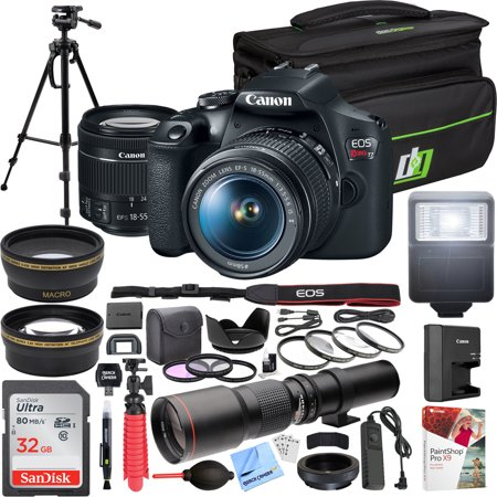 Canon EOS Rebel T7 DSLR Camera with with EF-S 18-55mm f/3.5-5.6 IS II Lens Kit + 500mm Preset f/8 Telephoto Lens + 0.43x Wide Angle, 2.2X Pro