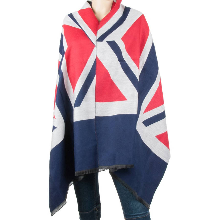 Aerusi Men or Womans Warm Cozy English Flag themed Winter Scarf Shawl Wrap