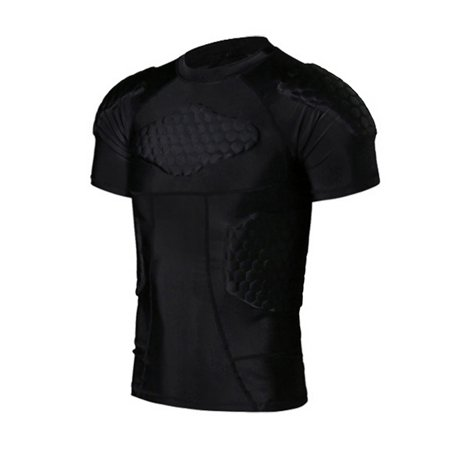 Men's Padded Compression Shirt Protective T Shirt Rib Chest Protector for Football Paintball Baseball Chest Padded Baseball Shirt