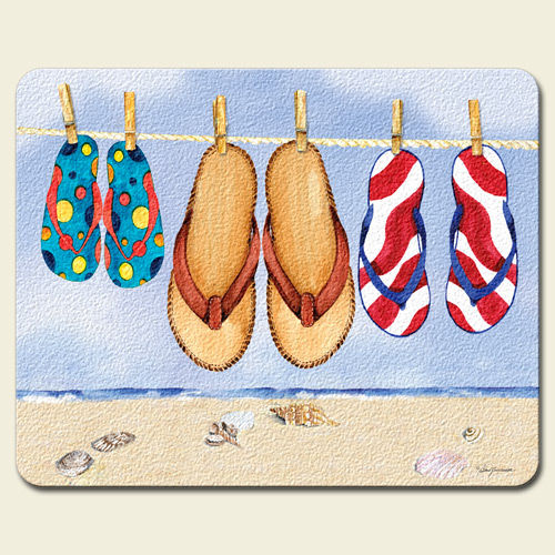 It's a Flip Flop Kind of Day Summer Fun Tempered Glass Small Cutting Board