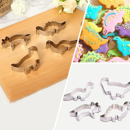 4pcs Dinosaur Cookie Cutter Biscuit Pastry Bread Fondant Cake DIY Mould Kids JASK Cake Mold Children Favor Decorating Mould Kitchen Tools