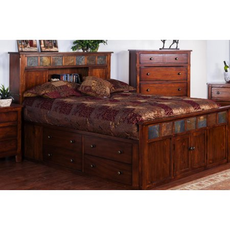 Sunny Designs Santa Fe Storage Bed with Slate In Dark Chocolate - (Queen) ()