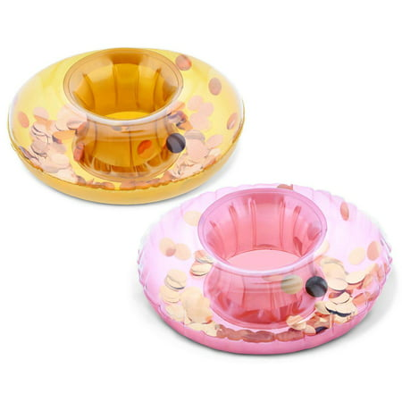 Cota Global Pool Party – Gold & Rose Gold Sparkling Circle Confetti Pool Inflatable Ring Tube Drink Holder (2pc Set) - Foe the Beach, Pool Party - Heavy Duty - UV Resistant - Inflatables - #201008