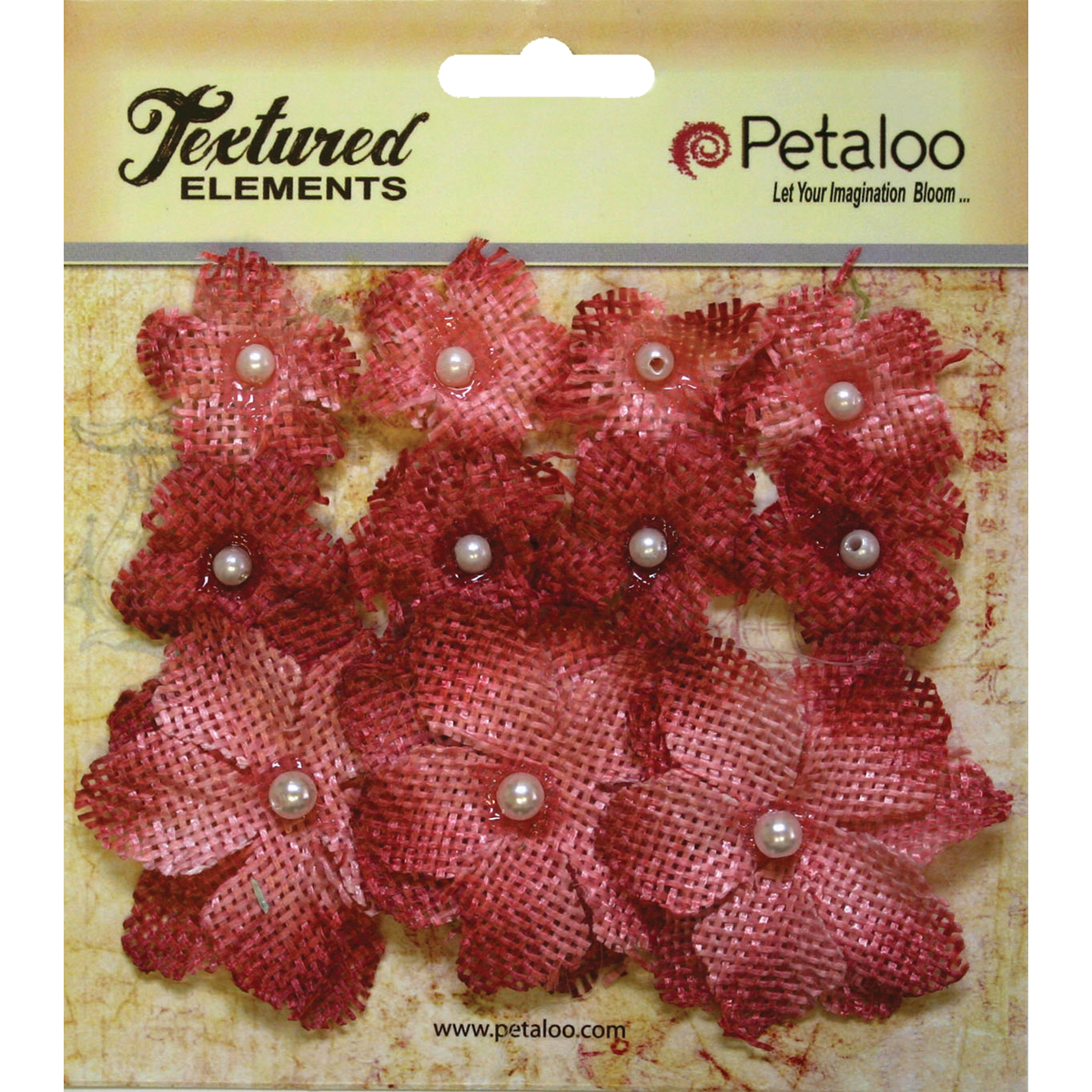 "Textured Elements Burlap Mini Flowers .75"" -1.5"" 11/Pkg-Antique Red"