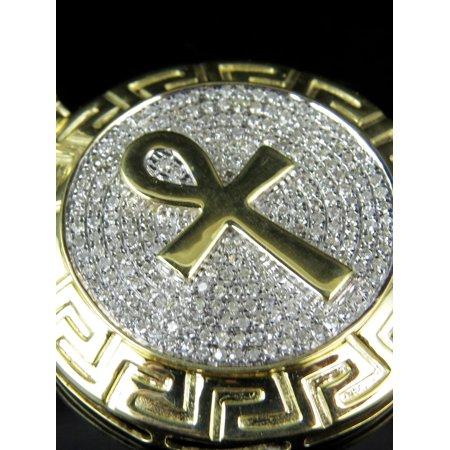 10K Yellow Gold Medallion Style Ankh Geniune Diamond Charm Pendant 1.45