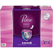 POISE Ultimate Absorbency Long Length Pads 108 ct For Day Time or Night Time Use