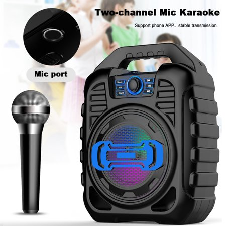 Portable Speaker System with LED Party Lights, Wireless bluetooth with Wireless Microphones or Headphones FM Radio Party Karaoke Machine Support U Disk/ TF Card/