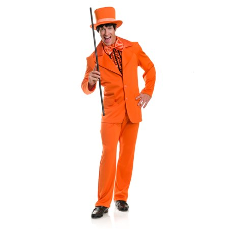 Mens Dumb And Dumber Orange Tuxedo With Jacket Pants Cumberbun Costume - Mens Pleather Pants Halloween Costume